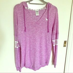 PINK Purple Pullover Long Sleeved Hooded Tee